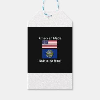"""""""American Born..Nebraska Bred"""" Flag Design Pack Of Gift Tags"""