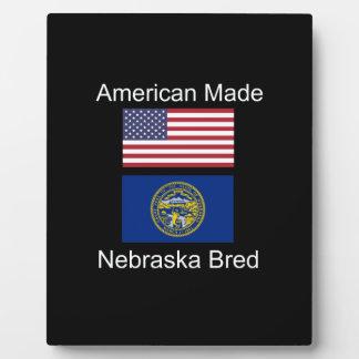 """American Born..Nebraska Bred"" Flag Design Plaque"
