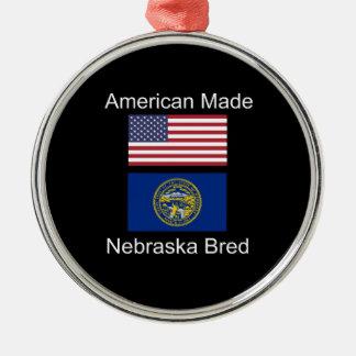 """""""American Born..Nebraska Bred"""" Flag Design Silver-Colored Round Ornament"""