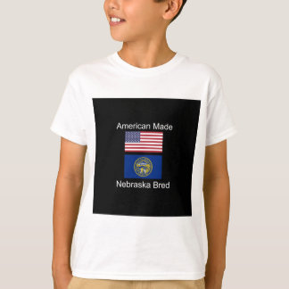 """""""American Born..Nebraska Bred"""" Flag Design T-Shirt"""