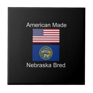 """""""American Born..Nebraska Bred"""" Flag Design Tile"""