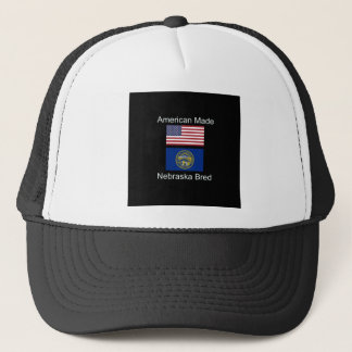 """American Born..Nebraska Bred"" Flag Design Trucker Hat"