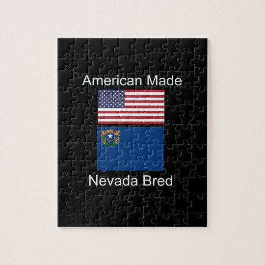 """American Born..Nevada Bred"" Flags and Patriotism Jigsaw Puzzle"