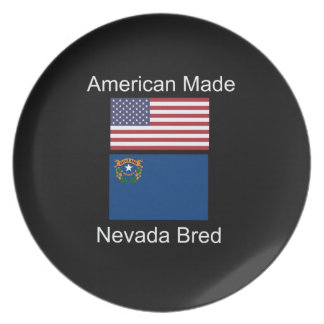 """American Born..Nevada Bred"" Flags and Patriotism Plate"