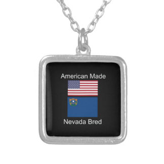 """American Born..Nevada Bred"" Flags and Patriotism Silver Plated Necklace"