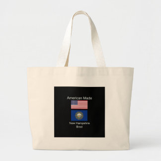 """American Born..New Hampshire Bred"" Flag Design Large Tote Bag"