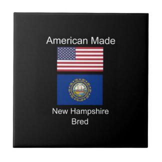 """American Born..New Hampshire Bred"" Flag Design Tile"