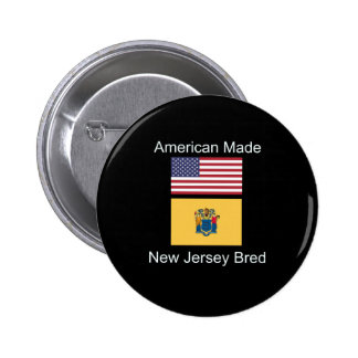 """American Born..New Jersey Bred"" Flag Design 2 Inch Round Button"