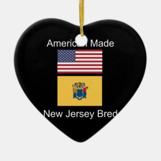 """""""American Born..New Jersey Bred"""" Flag Design Ceramic Ornament"""