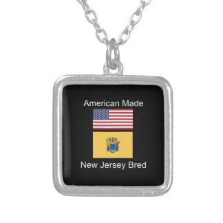 """American Born..New Jersey Bred"" Flag Design Silver Plated Necklace"