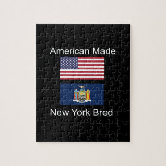 """American Born..New York Bred"" Flag Design Jigsaw Puzzle"