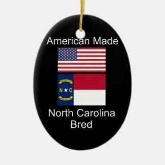"""""""American Born..North Carolina Bred"""" Flag Design Ceramic Ornament"""