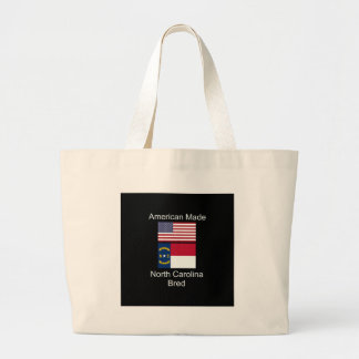 """American Born..North Carolina Bred"" Flag Design Large Tote Bag"
