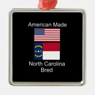 """American Born..North Carolina Bred"" Flag Design Metal Ornament"