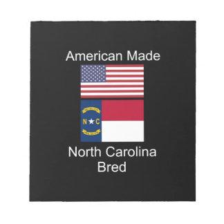 """American Born..North Carolina Bred"" Flag Design Notepad"