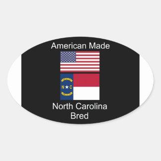"""""""American Born..North Carolina Bred"""" Flag Design Oval Sticker"""