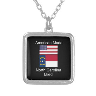 """American Born..North Carolina Bred"" Flag Design Silver Plated Necklace"