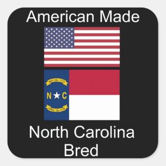 """""""American Born..North Carolina Bred"""" Flag Design Square Sticker"""