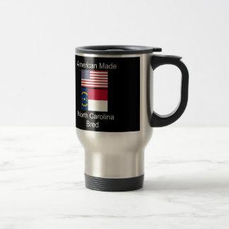 """American Born..North Carolina Bred"" Flag Design Travel Mug"