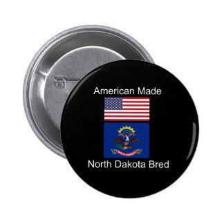 """""""American Born..North Dakota Bred"""" Flag Design 2 Inch Round Button"""