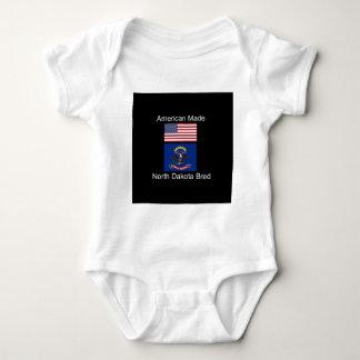 """American Born..North Dakota Bred"" Flag Design Baby Bodysuit"