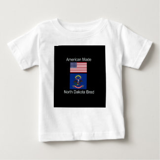 """American Born..North Dakota Bred"" Flag Design Baby T-Shirt"