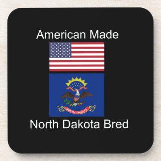 """American Born..North Dakota Bred"" Flag Design Beverage Coasters"