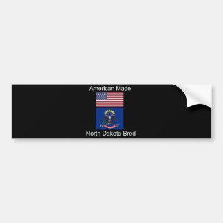 """""""American Born..North Dakota Bred"""" Flag Design Bumper Sticker"""