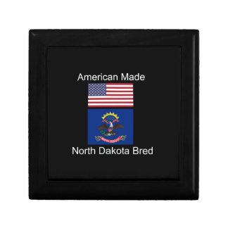 """American Born..North Dakota Bred"" Flag Design Gift Box"