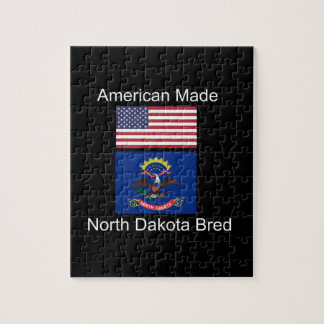 """American Born..North Dakota Bred"" Flag Design Jigsaw Puzzle"