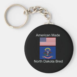 """American Born..North Dakota Bred"" Flag Design Keychain"