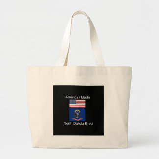 """American Born..North Dakota Bred"" Flag Design Large Tote Bag"