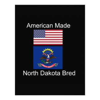 """American Born..North Dakota Bred"" Flag Design Letterhead Template"