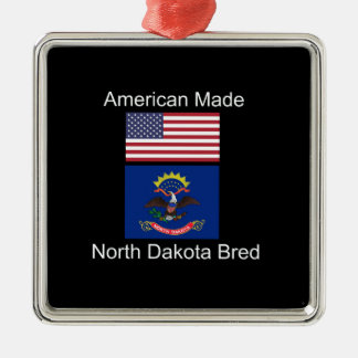 """American Born..North Dakota Bred"" Flag Design Metal Ornament"