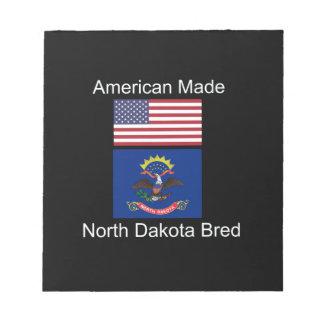 """American Born..North Dakota Bred"" Flag Design Notepads"