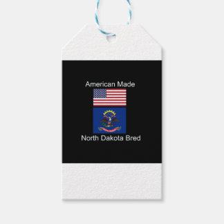 """American Born..North Dakota Bred"" Flag Design Pack Of Gift Tags"
