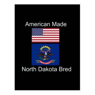 """American Born..North Dakota Bred"" Flag Design Postcard"
