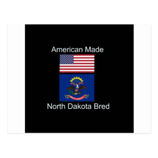 """American Born..North Dakota Bred"" Flag Design Postcard"