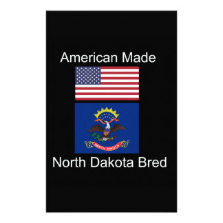 """American Born..North Dakota Bred"" Flag Design Stationery"