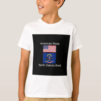 """American Born..North Dakota Bred"" Flag Design T-Shirt"