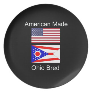"""""""American Born..Ohio Bred"""" Flags and Patriotism Plate"""