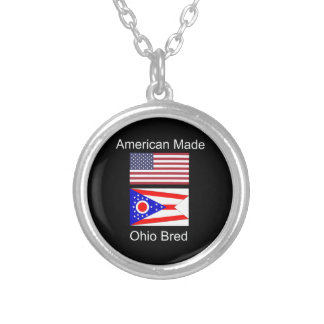 """American Born..Ohio Bred"" Flags and Patriotism Silver Plated Necklace"