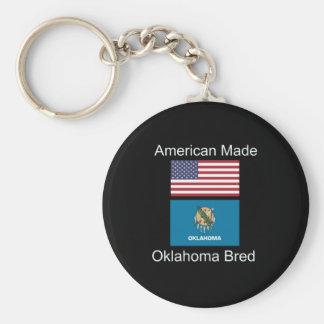 """American Born..Oklahoma Bred"" Flag Design Keychain"