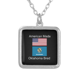"""American Born..Oklahoma Bred"" Flag Design Silver Plated Necklace"