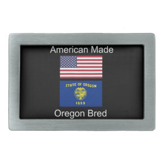 """American Born..Oregon Bred"" Flags and Patriotism Rectangular Belt Buckles"