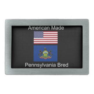 """American Born..Pennsylvania Bred"" Flag Design Belt Buckles"