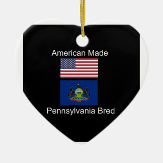 """American Born..Pennsylvania Bred"" Flag Design Ceramic Ornament"