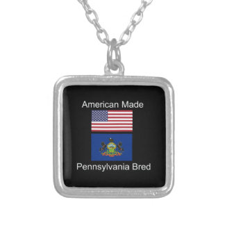 """American Born..Pennsylvania Bred"" Flag Design Silver Plated Necklace"