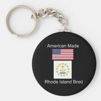 """American Born..Rhode Island Bred"" Flag Design Basic Round Button Keychain"