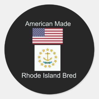 """American Born..Rhode Island Bred"" Flag Design Classic Round Sticker"